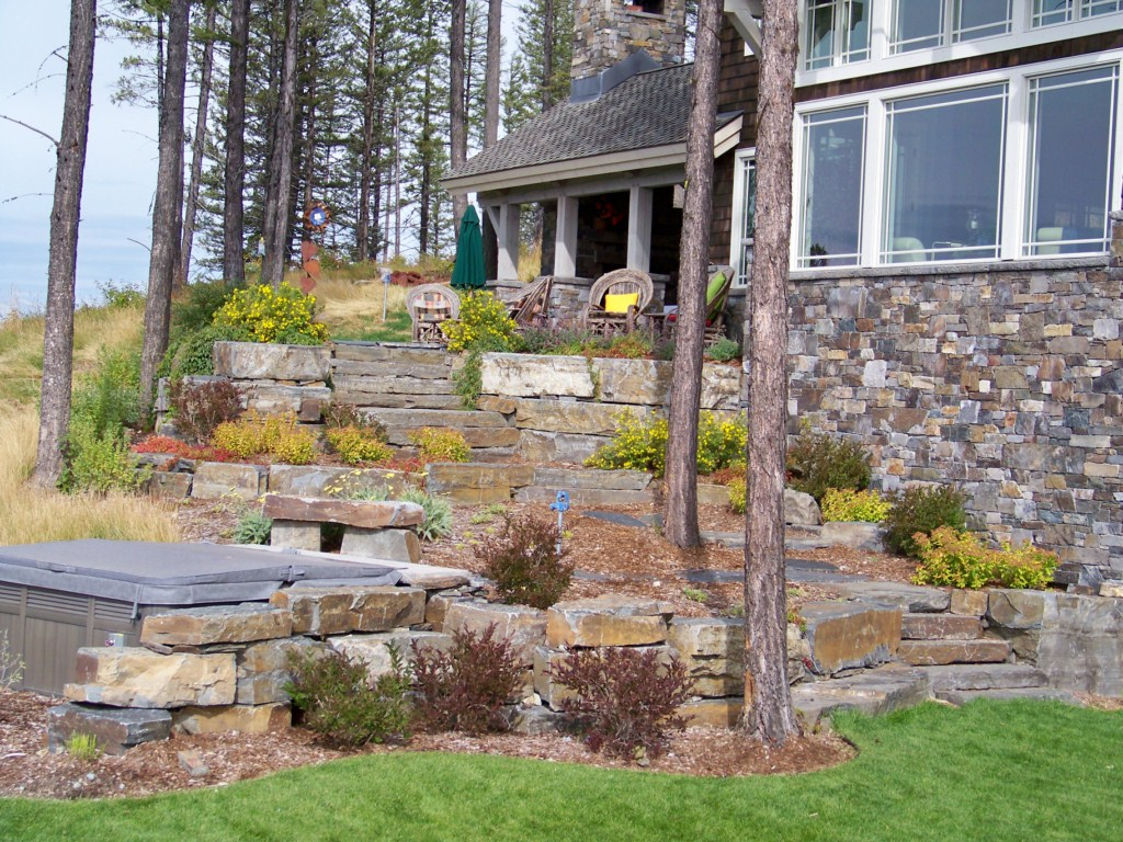 Walls and plants used to deal with sloped hillside